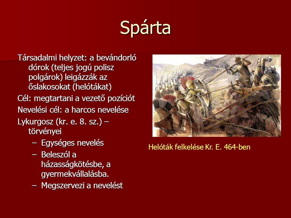 Spárta Társadalmi helyzet: a bevándorló dórok (teljes jogú polisz polgárok) leigázzák az őslakosokat (helótákat)