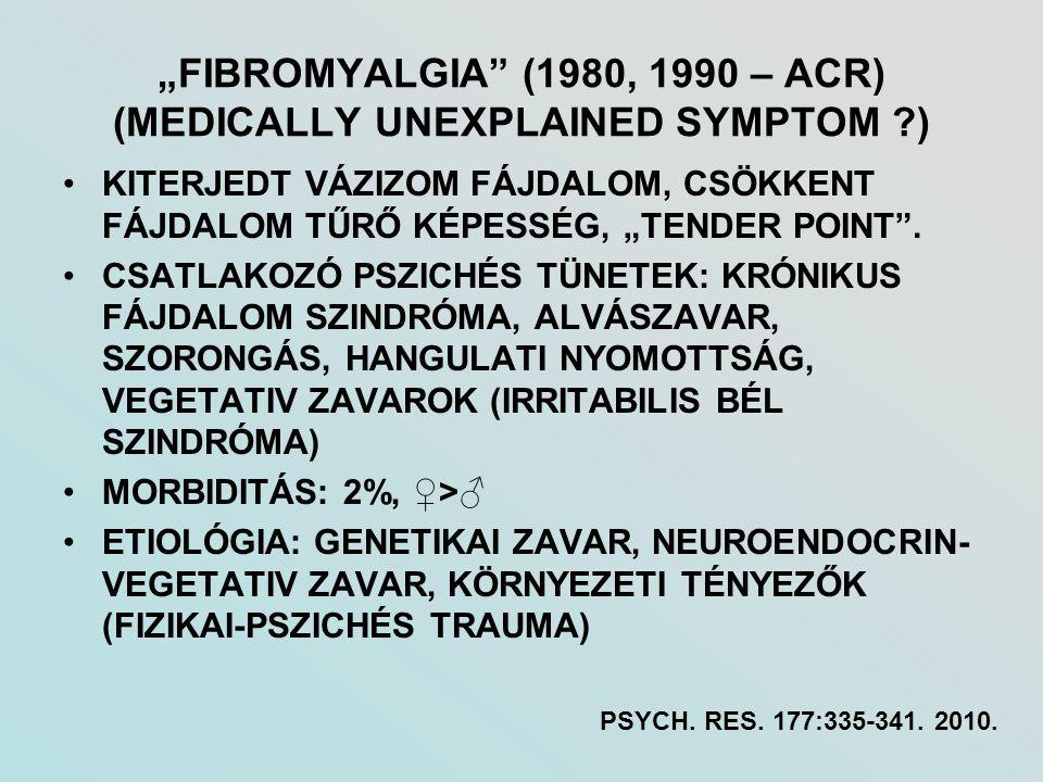 """""""FIBROMYALGIA (1980, 1990 – ACR) (MEDICALLY UNEXPLAINED SYMPTOM )"""