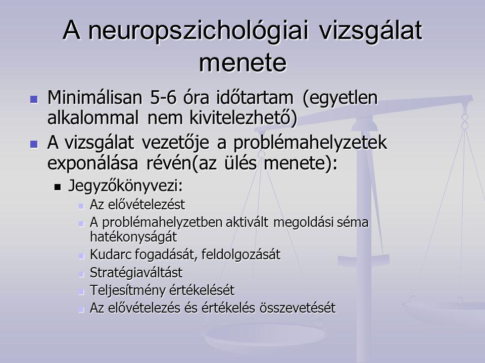 A neuropszichológiai vizsgálat menete