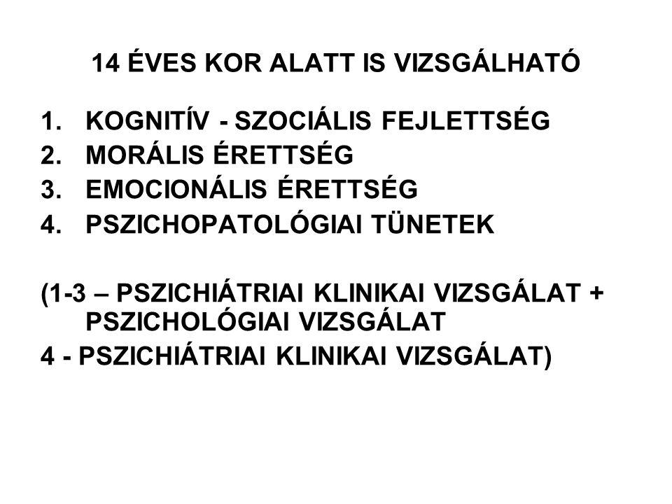 14 ÉVES KOR ALATT IS VIZSGÁLHATÓ