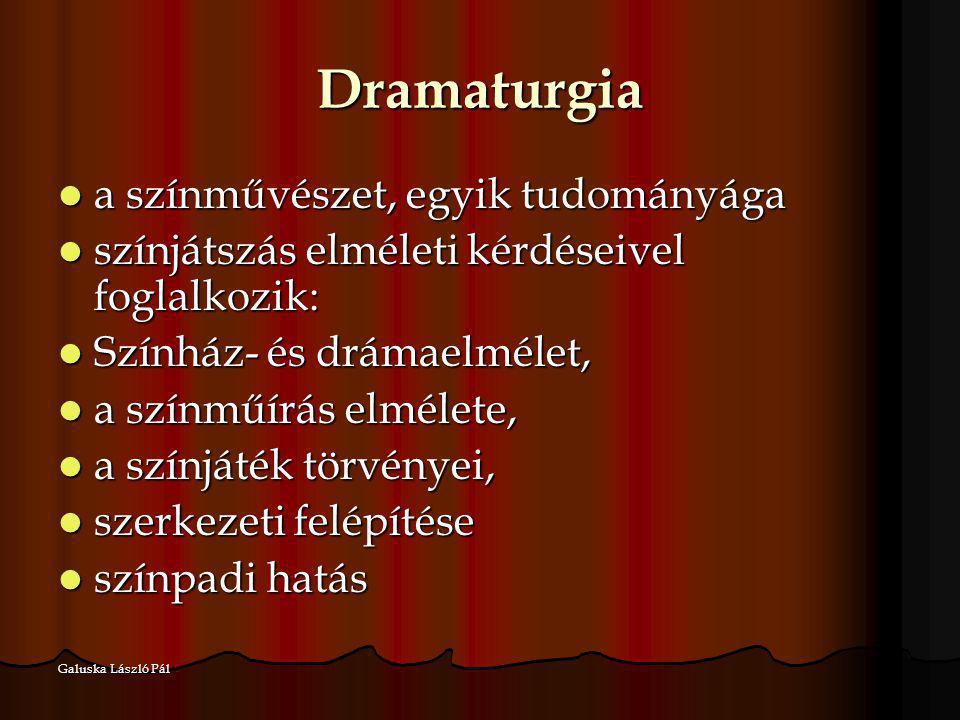 Dramaturgia a színművészet, egyik tudományága