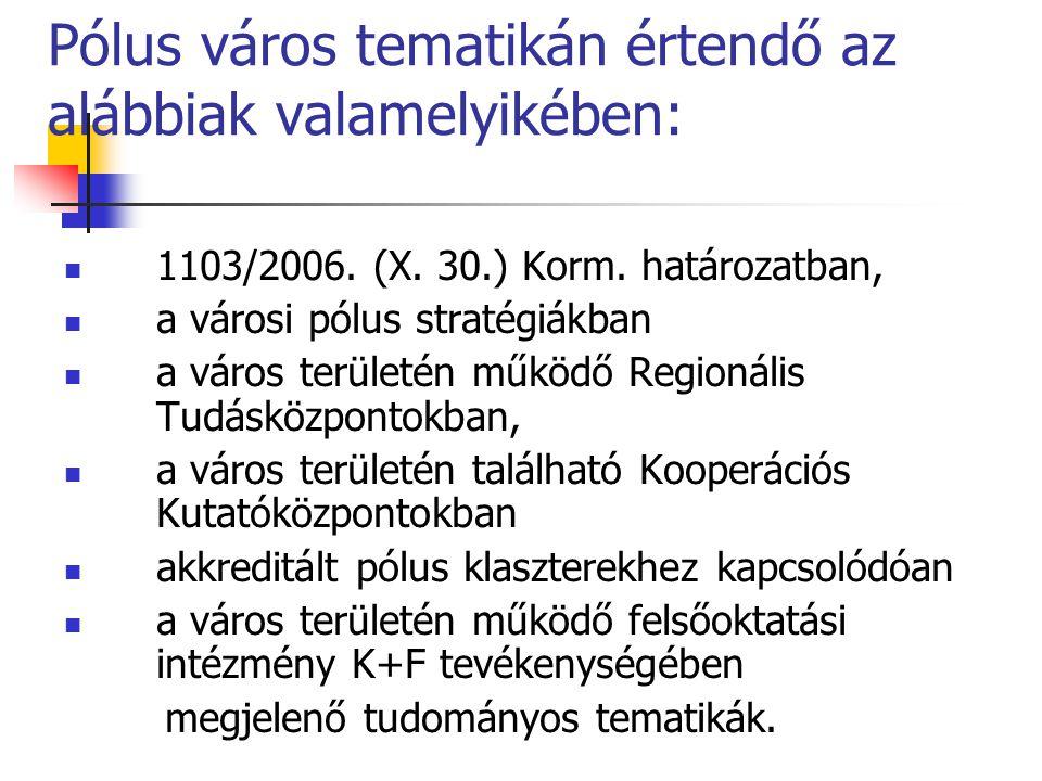 Pólus város tematikán értendő az alábbiak valamelyikében:
