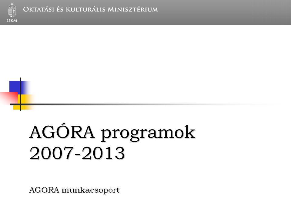 AGÓRA programok 2007-2013 AGORA munkacsoport