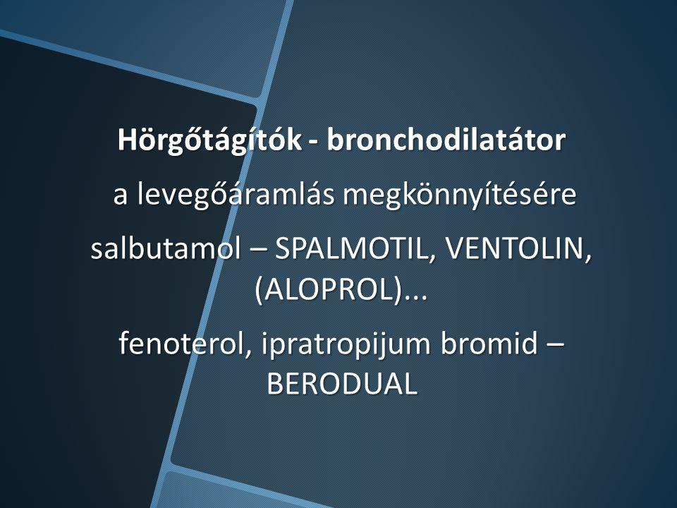 Hörgőtágítók - bronchodilatátor a levegőáramlás megkönnyítésére salbutamol – SPALMOTIL, VENTOLIN, (ALOPROL)...