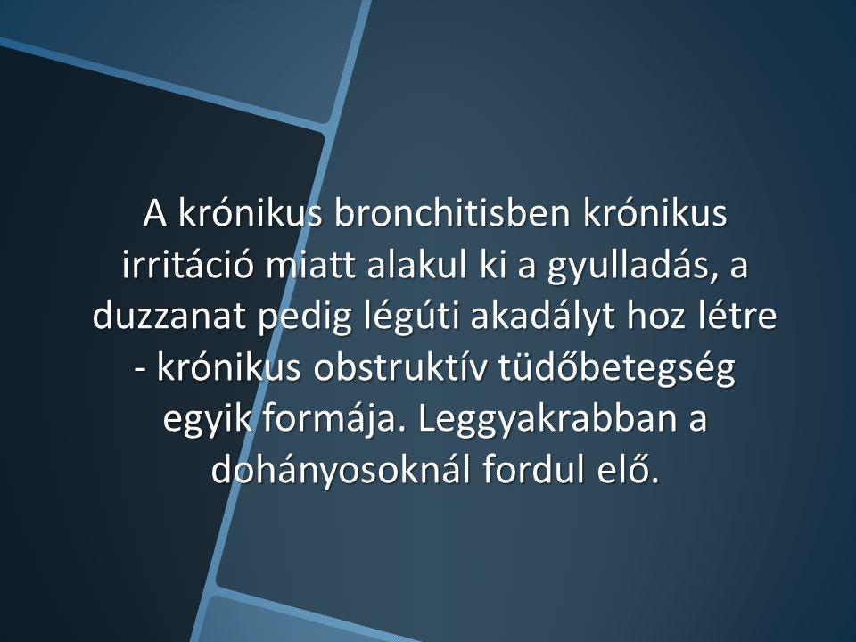 A krónikus bronchitisben krónikus irritáció miatt alakul ki a gyulladás, a duzzanat pedig légúti akadályt hoz létre - krónikus obstruktív tüdőbetegség egyik formája.