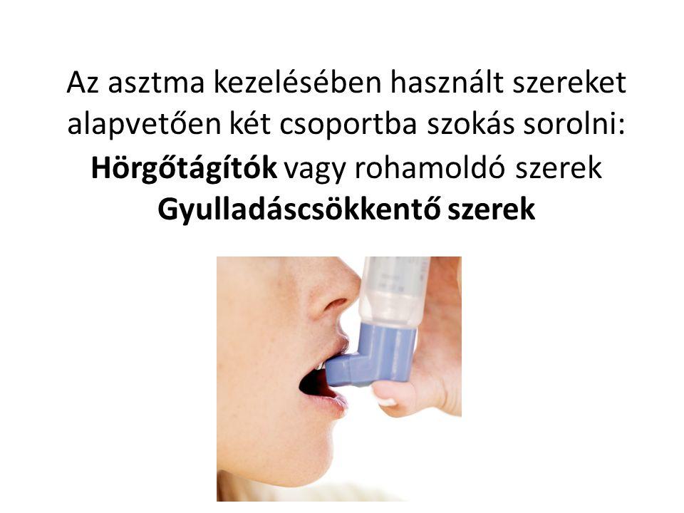 Az asztma kezelésében használt szereket alapvetően két csoportba szokás sorolni: Hörgőtágítók vagy rohamoldó szerek Gyulladáscsökkentő szerek