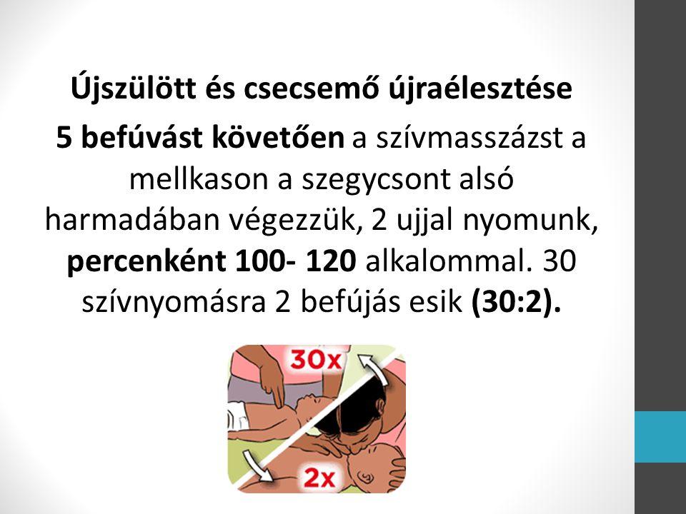 Újszülött és csecsemő újraélesztése 5 befúvást követően a szívmasszázst a mellkason a szegycsont alsó harmadában végezzük, 2 ujjal nyomunk, percenként 100- 120 alkalommal.