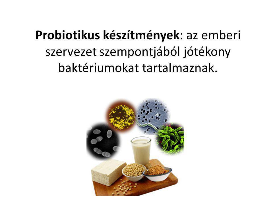 Probiotikus készítmények: az emberi szervezet szempontjából jótékony baktériumokat tartalmaznak.