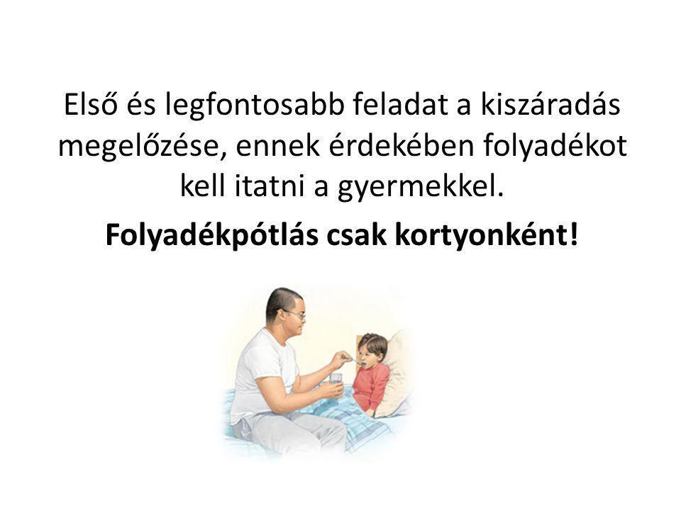 Első és legfontosabb feladat a kiszáradás megelőzése, ennek érdekében folyadékot kell itatni a gyermekkel.