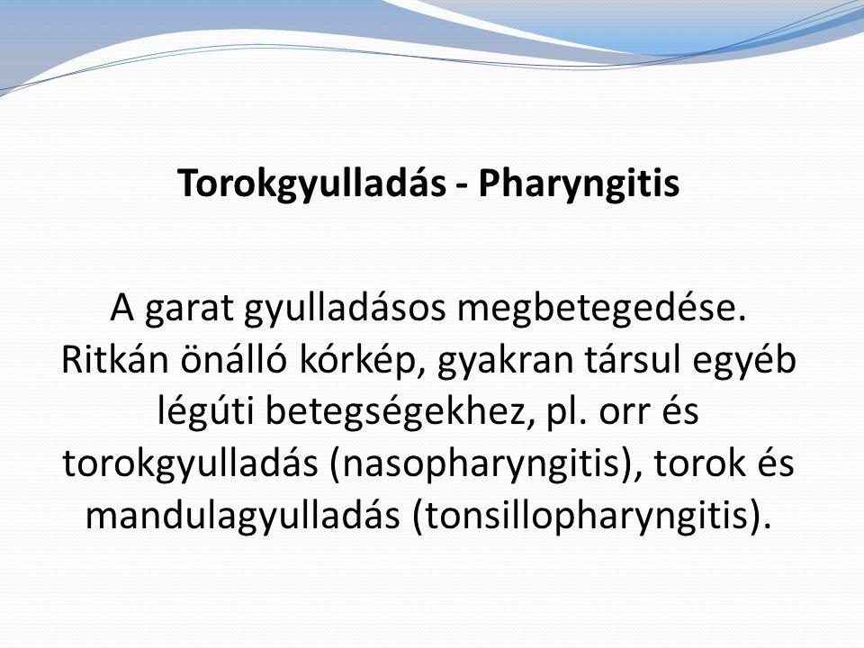 Torokgyulladás - Pharyngitis A garat gyulladásos megbetegedése