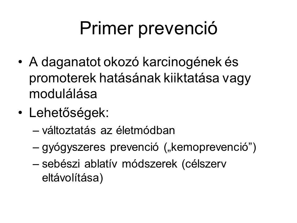 Primer prevenció A daganatot okozó karcinogének és promoterek hatásának kiiktatása vagy modulálása.