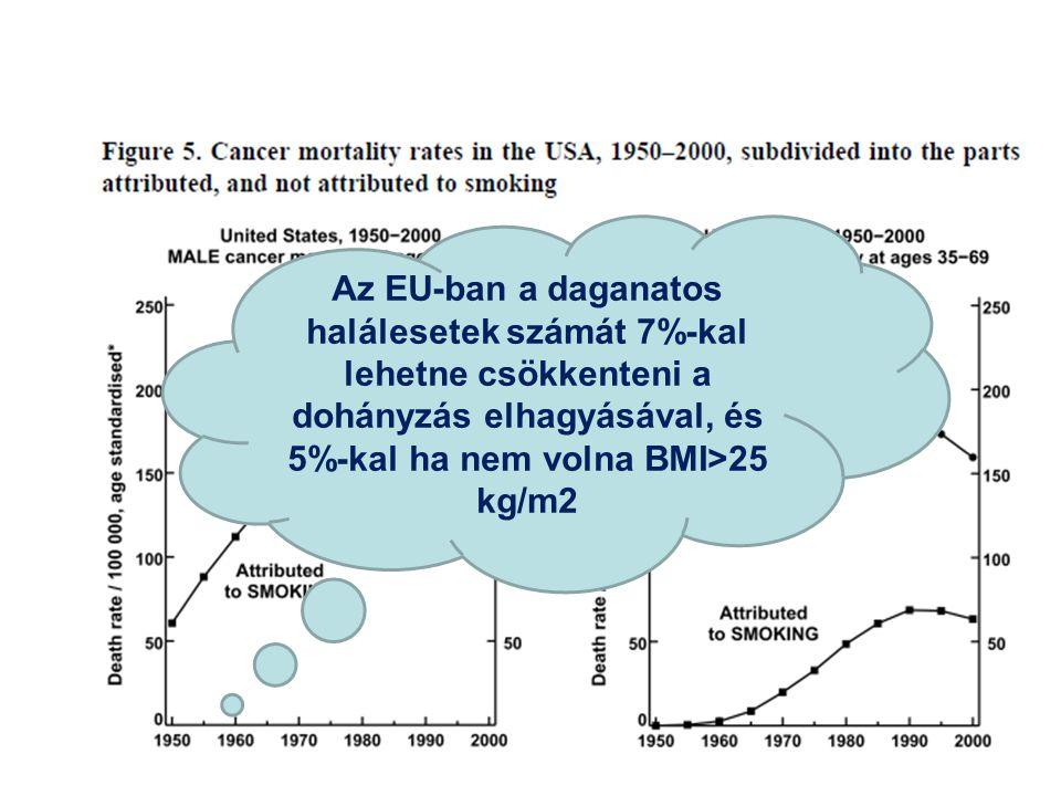 Az EU-ban a daganatos halálesetek számát 7%-kal lehetne csökkenteni a dohányzás elhagyásával, és 5%-kal ha nem volna BMI>25 kg/m2