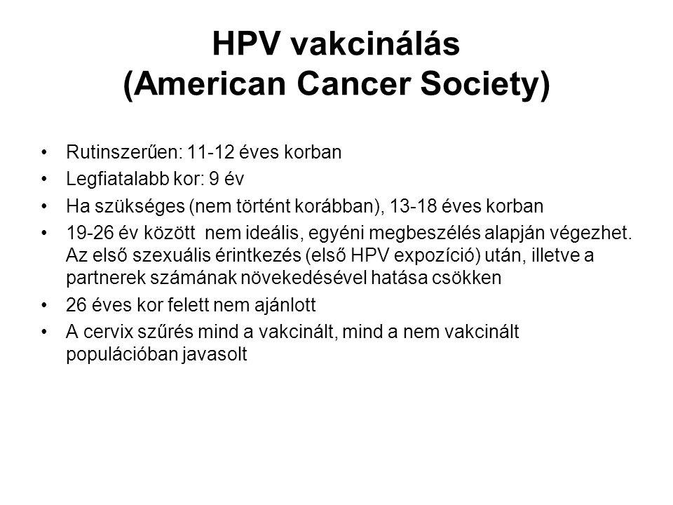 HPV vakcinálás (American Cancer Society)
