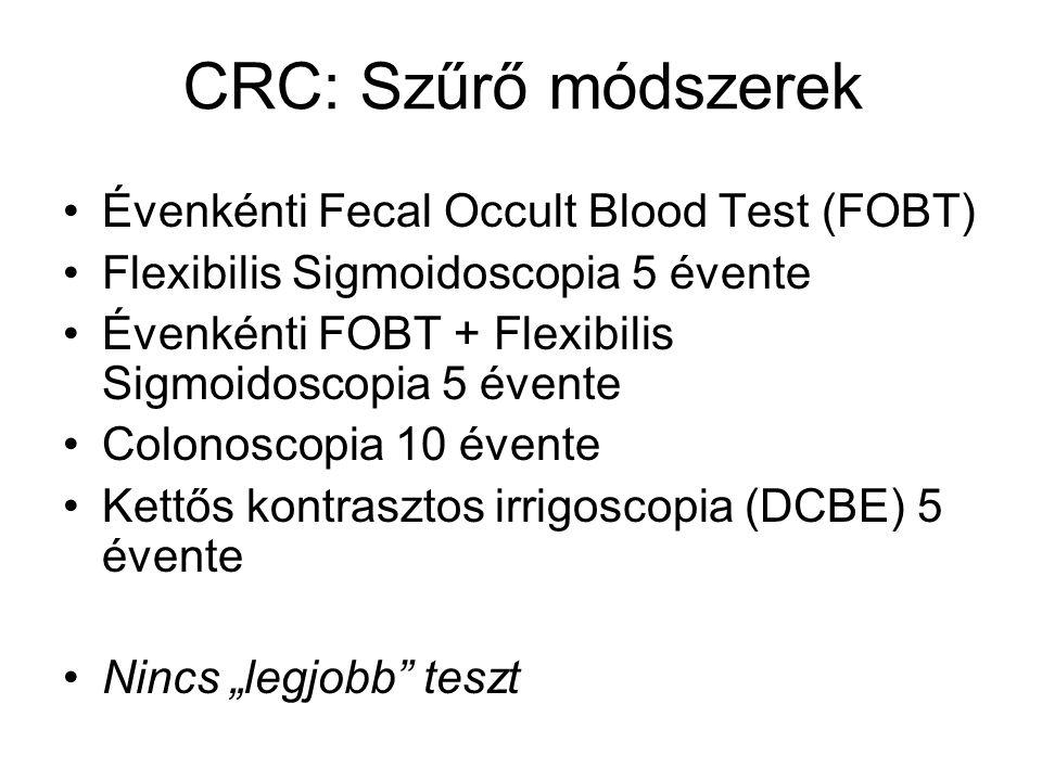 CRC: Szűrő módszerek Évenkénti Fecal Occult Blood Test (FOBT)