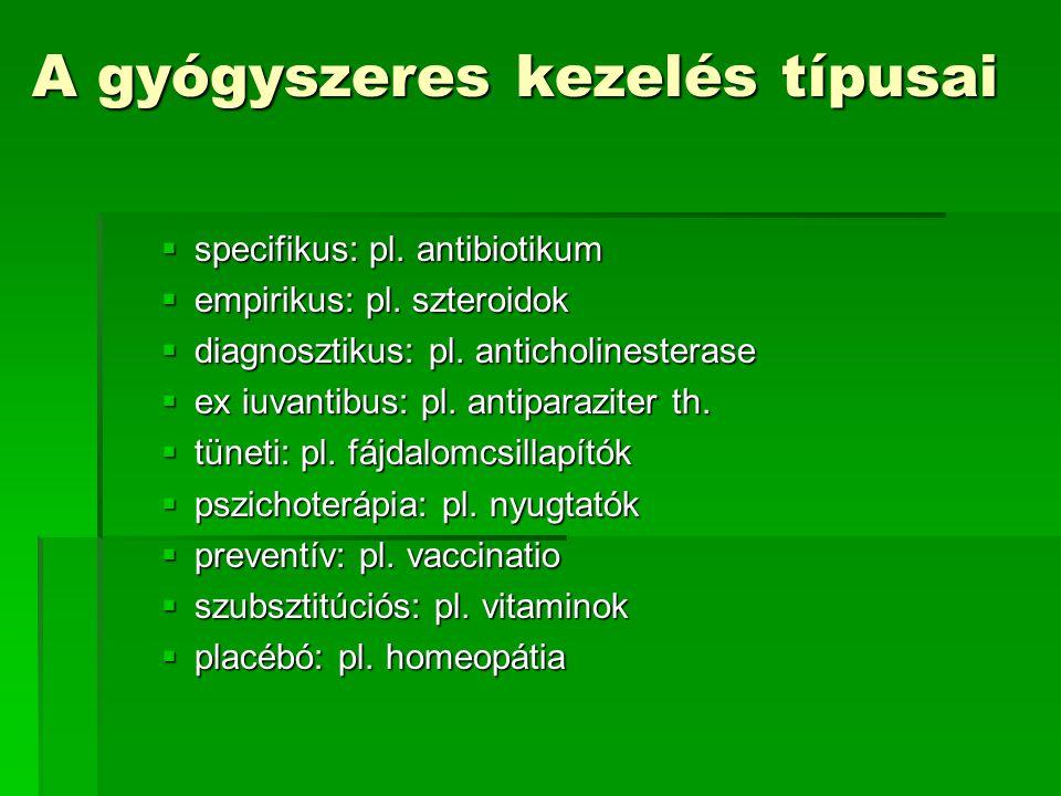 A gyógyszeres kezelés típusai