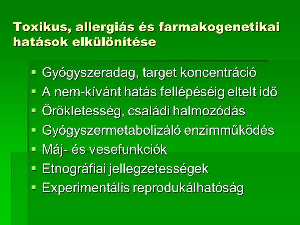 Toxikus, allergiás és farmakogenetikai hatások elkülönítése