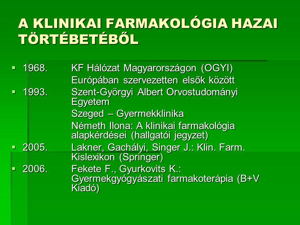 A KLINIKAI FARMAKOLÓGIA HAZAI TÖRTÉBETÉBŐL