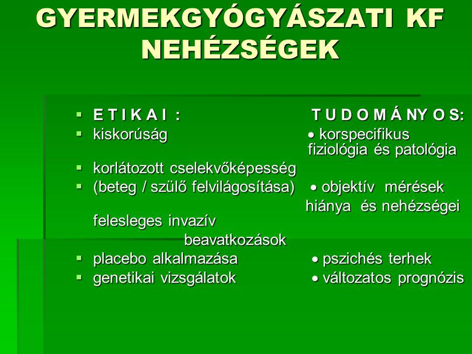 GYERMEKGYÓGYÁSZATI KF NEHÉZSÉGEK