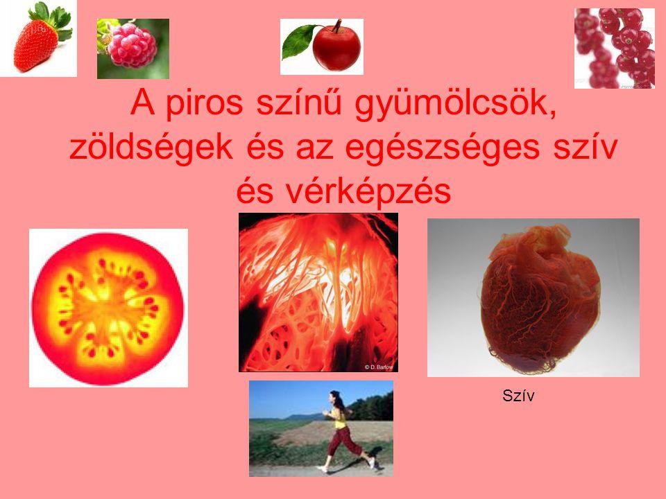 A piros színű gyümölcsök, zöldségek és az egészséges szív és vérképzés