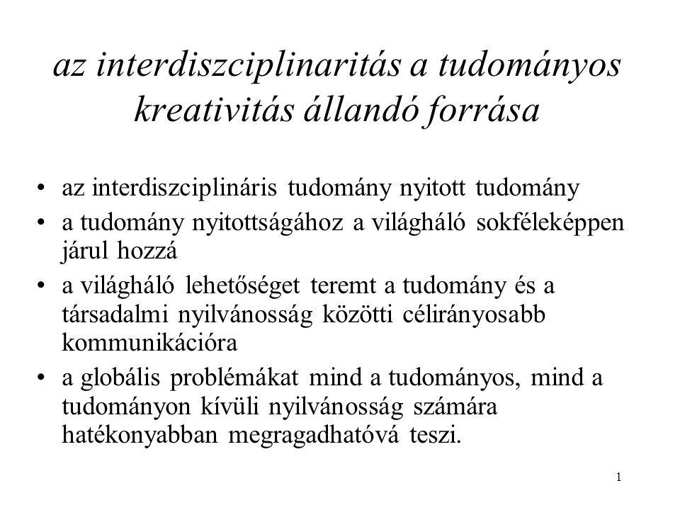 az interdiszciplinaritás a tudományos kreativitás állandó forrása