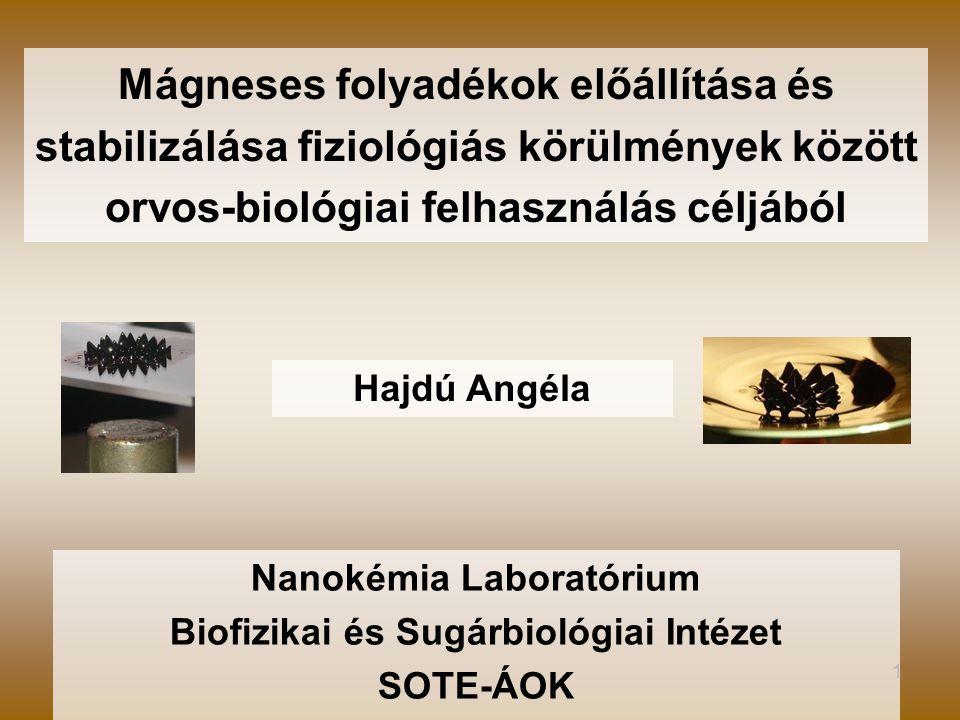 Nanokémia Laboratórium Biofizikai és Sugárbiológiai Intézet