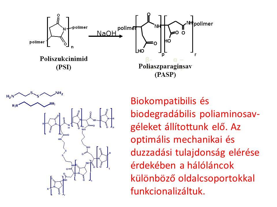 NaOH p. N. H. O. polimer. r. β-Asp. α –Asp. Poliszukcinimid. (PSI) Poliaszparaginsav. (PASP)