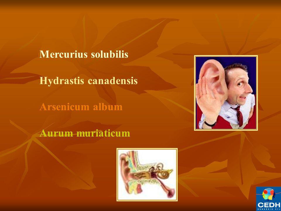 Mercurius solubilis Hydrastis canadensis Arsenicum album Aurum muriaticum