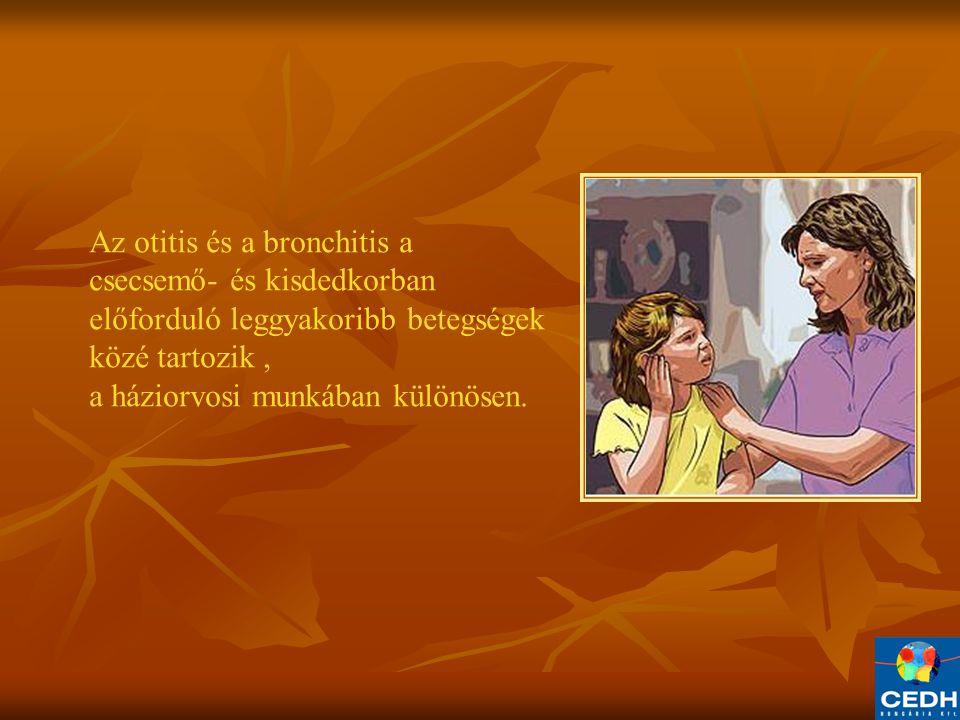 Az otitis és a bronchitis a csecsemő- és kisdedkorban előforduló leggyakoribb betegségek közé tartozik ,