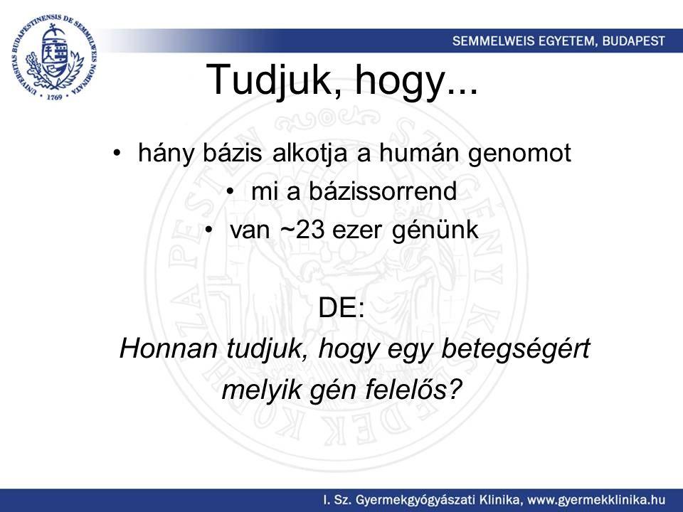 Tudjuk, hogy... DE: Honnan tudjuk, hogy egy betegségért