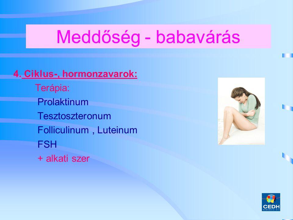 Meddőség - babavárás 4. Ciklus-, hormonzavarok: Terápia: Prolaktinum