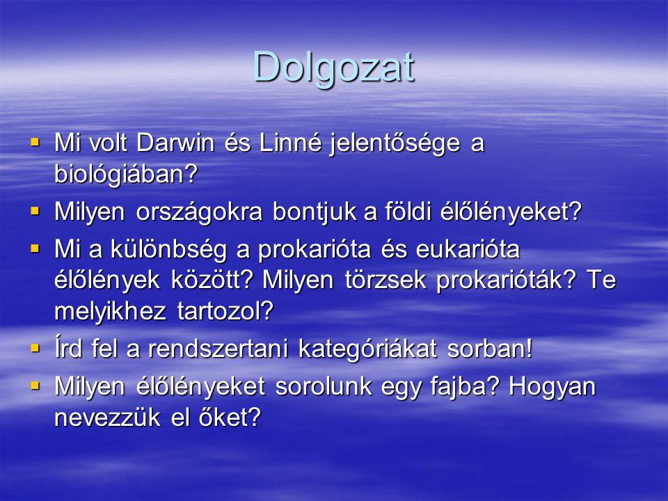Dolgozat Mi volt Darwin és Linné jelentősége a biológiában