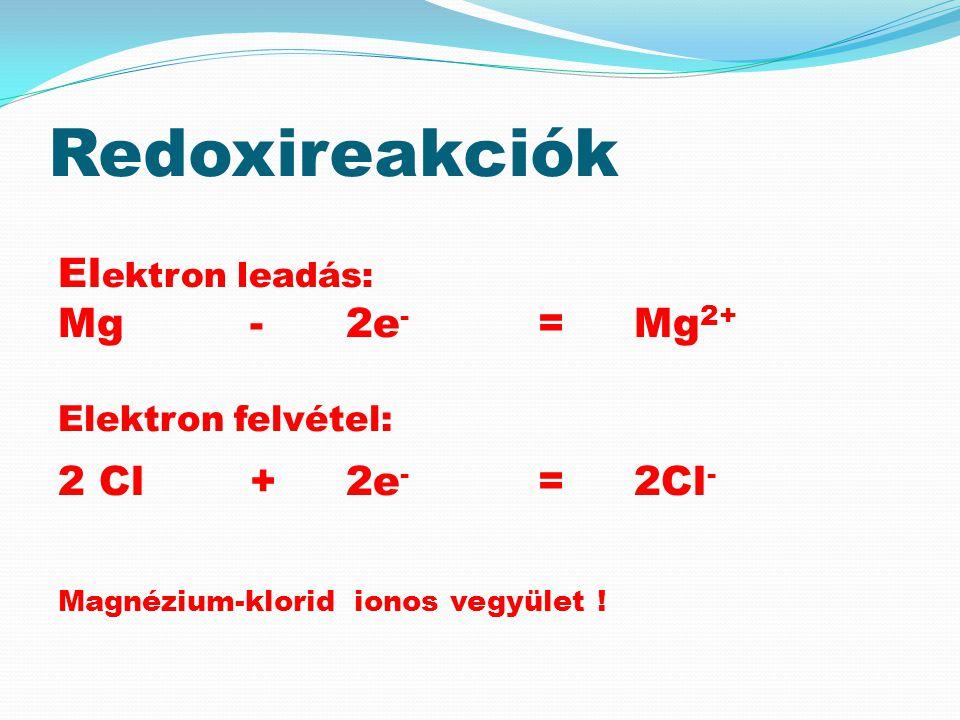 Redoxireakciók Elektron felvétel: Elektron leadás: Mg - 2e- = Mg2+
