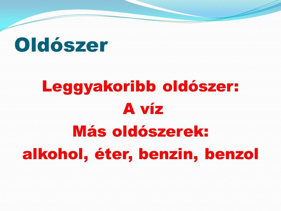 Oldószer Leggyakoribb oldószer: A víz Más oldószerek: