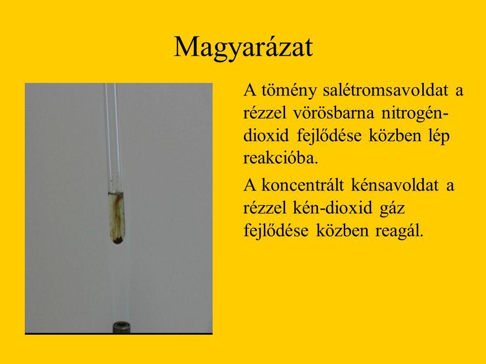 Magyarázat A tömény salétromsavoldat a rézzel vörösbarna nitrogén-dioxid fejlődése közben lép reakcióba.