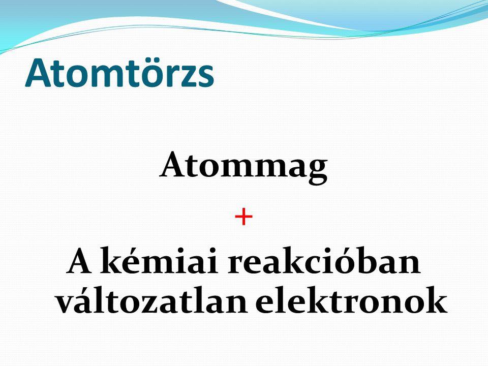 Atommag + A kémiai reakcióban változatlan elektronok