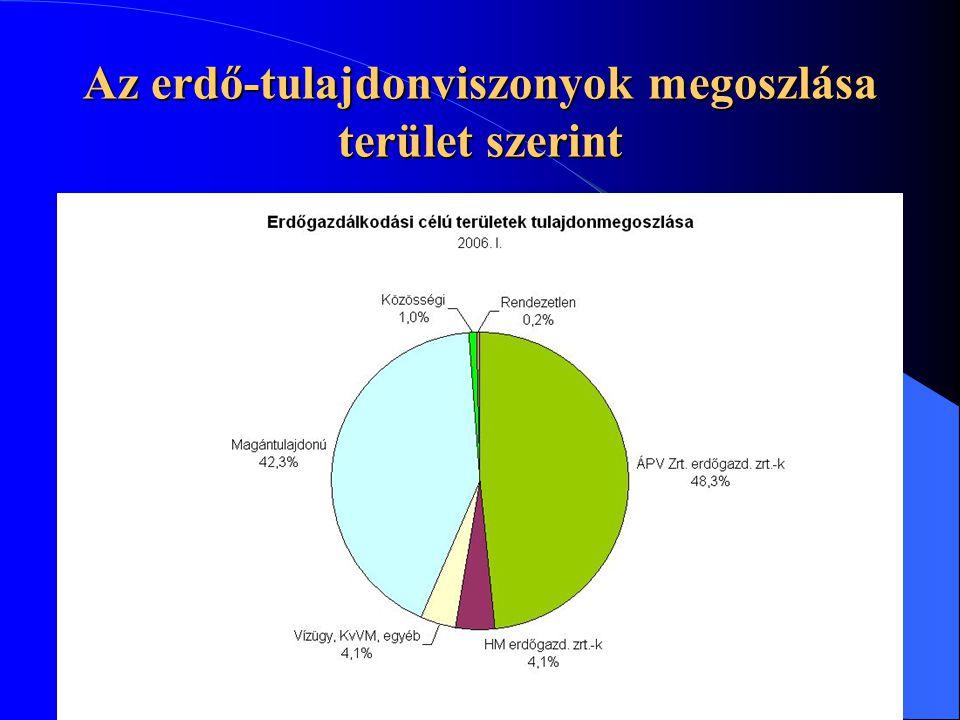 Az erdő-tulajdonviszonyok megoszlása terület szerint