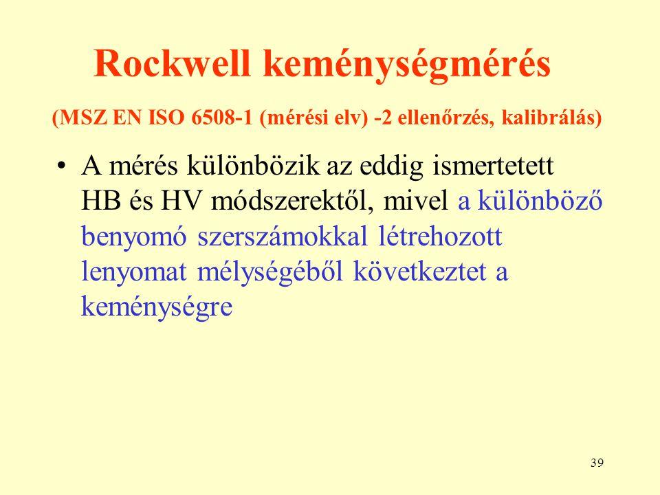 Rockwell keménységmérés (MSZ EN ISO 6508-1 (mérési elv) -2 ellenőrzés, kalibrálás)