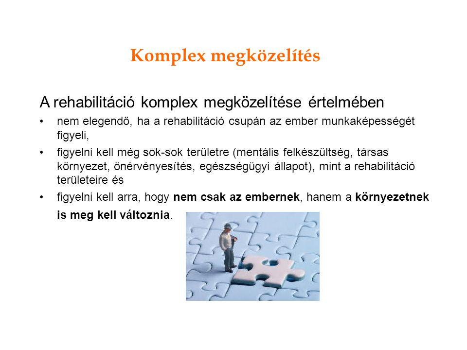 Komplex megközelítés A rehabilitáció komplex megközelítése értelmében
