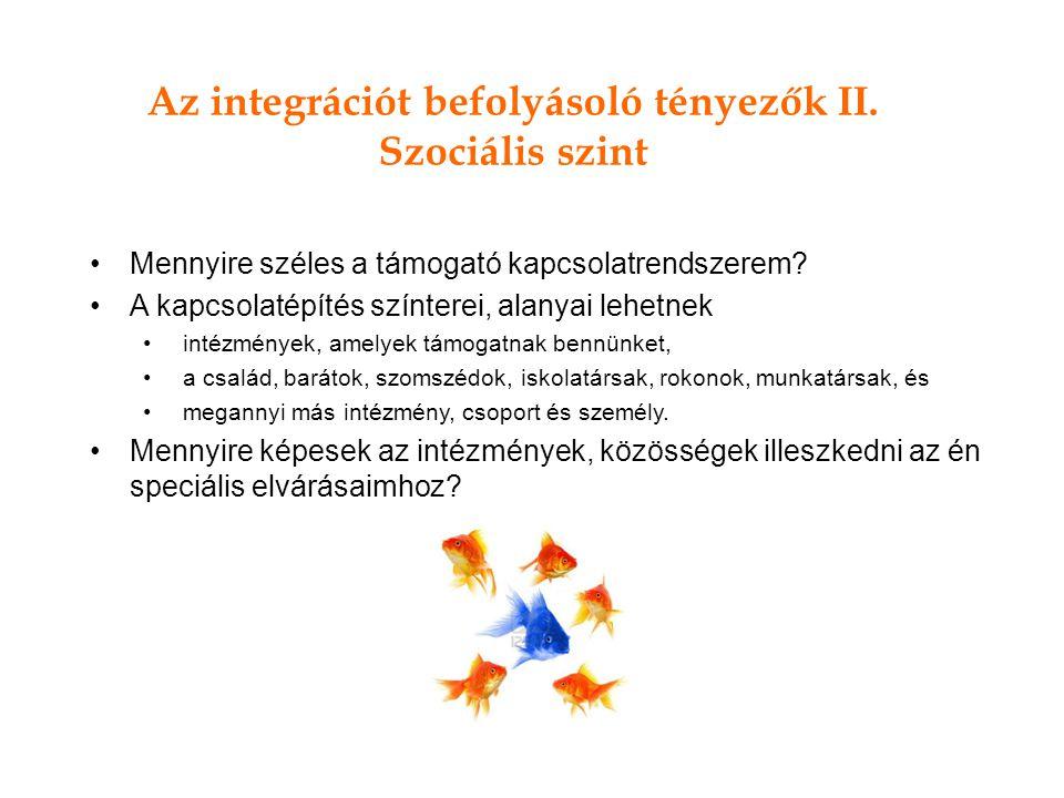 Az integrációt befolyásoló tényezők II.