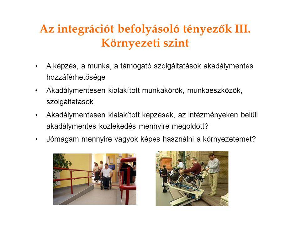 Az integrációt befolyásoló tényezők III.