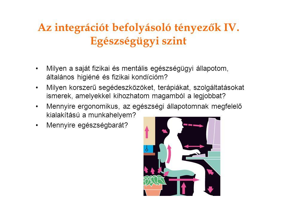 Az integrációt befolyásoló tényezők IV.