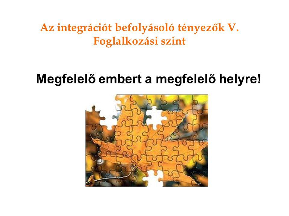 Az integrációt befolyásoló tényezők V.