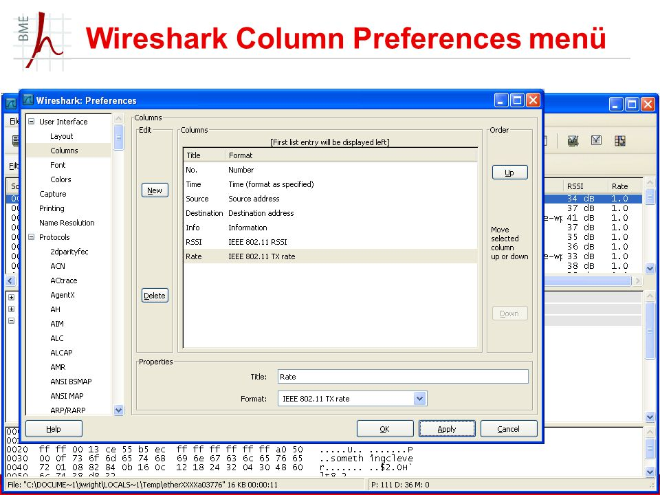 Wireshark Column Preferences menü