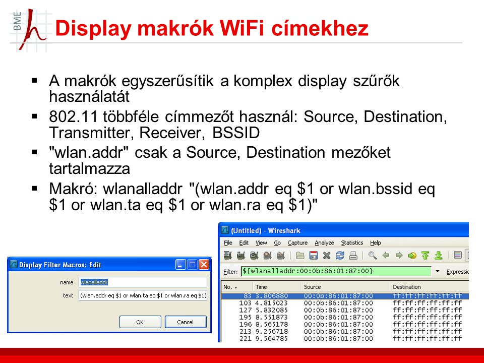 Display makrók WiFi címekhez