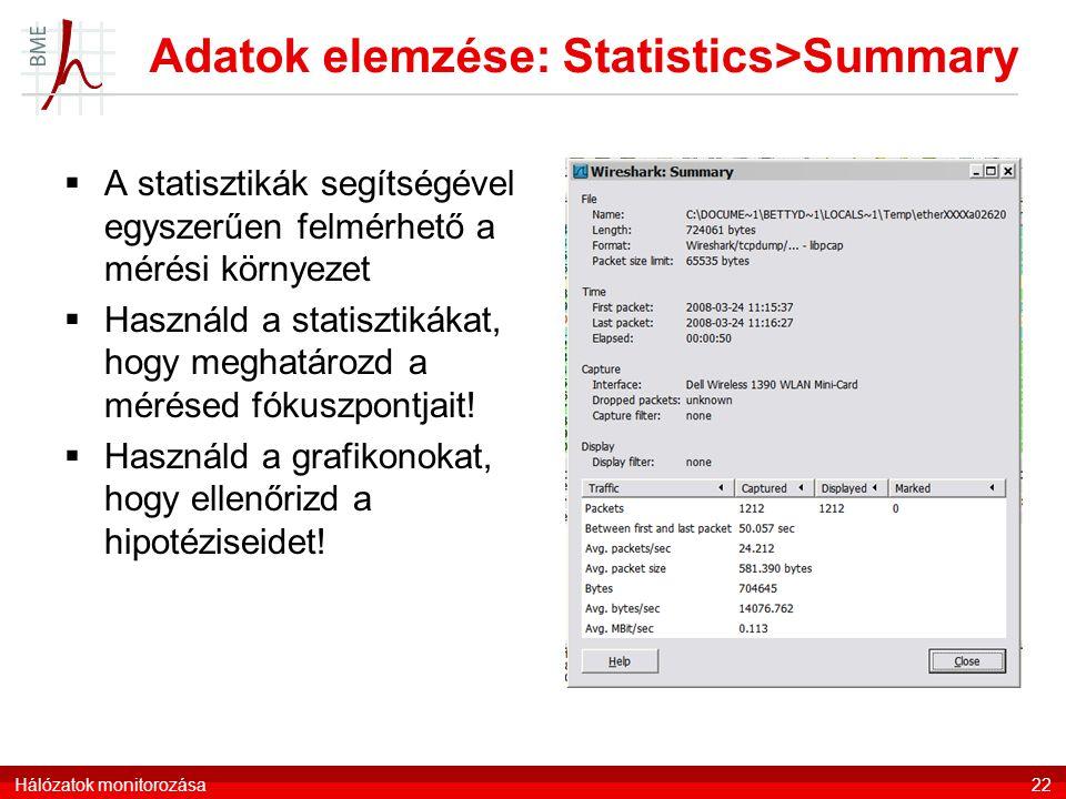 Adatok elemzése: Statistics>Summary