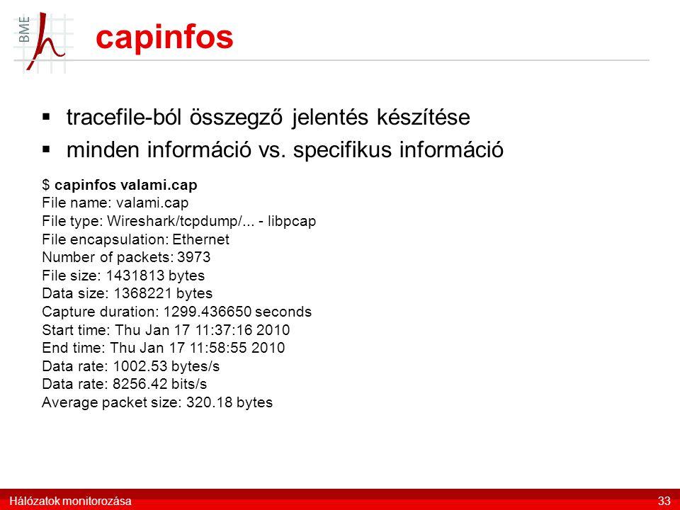 capinfos tracefile-ból összegző jelentés készítése