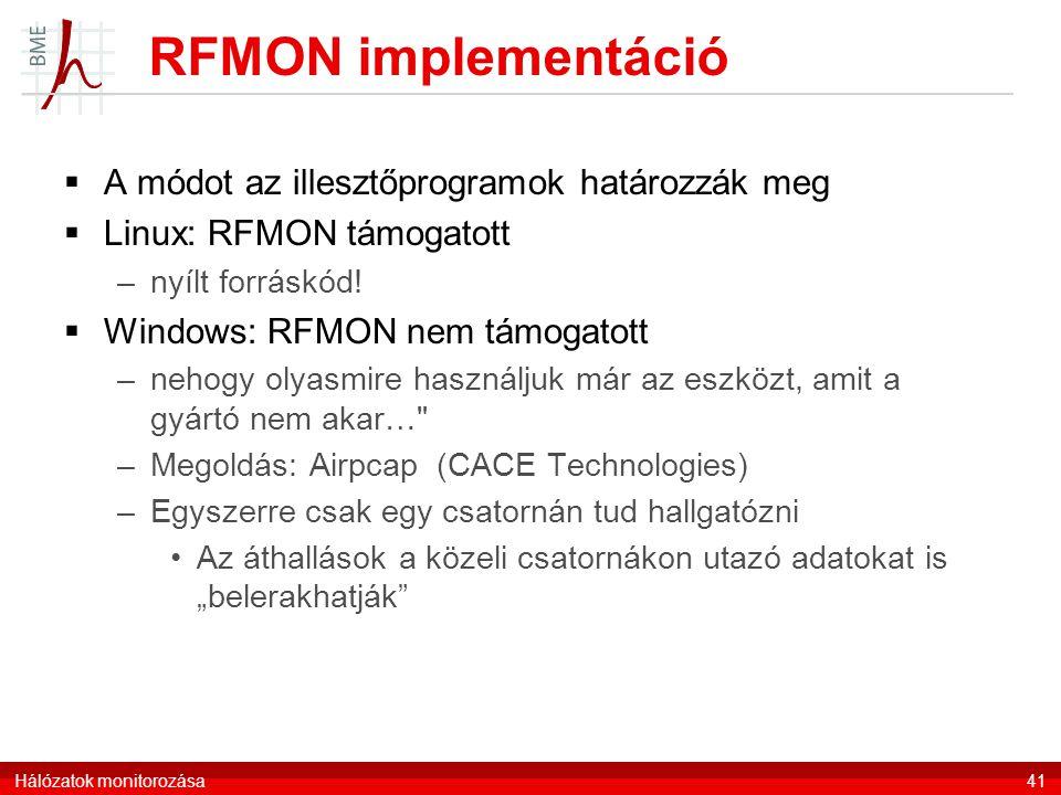 RFMON implementáció A módot az illesztőprogramok határozzák meg