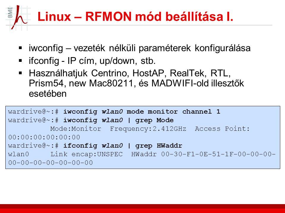 Linux – RFMON mód beállítása I.