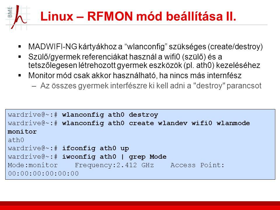 Linux – RFMON mód beállítása II.