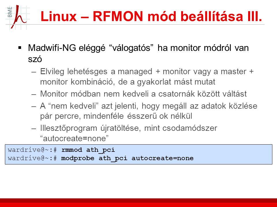 Linux – RFMON mód beállítása III.